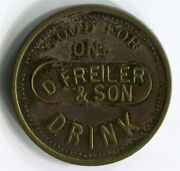 Montana Territory Wickes - 1883-84 D. Freiler And Son One Drink Token Bbc Rev