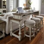 Liberty Furniture 4 Piece Console Bar Table Set In Antique White 1-console 3...
