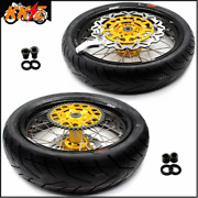 Kke 3.5/4.25 Supermoto Rims Wheels Set Fit Suzuki Drz400s Drz400e Gold Tires