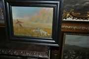 Great Hunting Dogs With Pheasant Oil Painting On Board