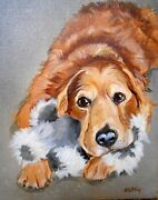 Golden Retriever Art Large Oil Painting Custom Your Dog From Your Photos