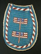 Antique 1890s Sioux Indian Beaded Sinew Sewn Tear Drop Hide Bag W/american Flags