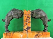 Antique Pair Of Bookends Book Ends Bronze Signed Marcel Guillemand