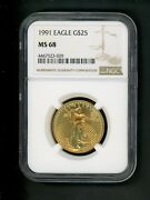 1991 Us 1/2 Oz Gold American Eagle 25.00 25 Ngc Ms 68 Uncirculated Rare Date