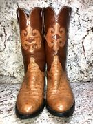 Lucchese Ostrich Boots 10.5d With Mission Inlay
