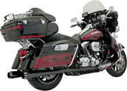 Bassani +p Stepped True Duals Exhaust - Black With Black Fluted End Caps 1f46rb
