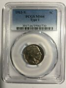 1913-s Buffalo Nickel Pcgs Ms 66 Type 1. Scarce Date. Under 1k Mint Condition.