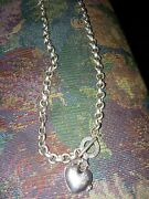Estate Sale Find Tandco Sterling Silver Heart Toggle Necklace Sold As Is