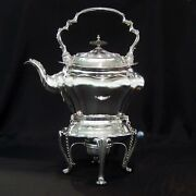 Antique Silver Kettle On Stand By Walker And Hall