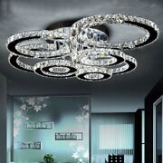 Flush Mounted Chandelier Led Lighting Crystal Chrome Iron Home Ceiling Fixture