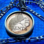1974 Trinidad And Tobago Island Coin Pendant 30 Sterling Silver Chain Necklace