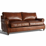 Marquesslife Luxury Antique 3seater Sofa Couch 100genuine Aged Leather Hamdmade