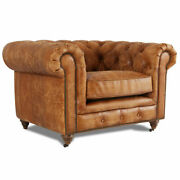 Marquesslife Handmade Tufted Couch Chesterfield Style Aged Leather Single Sofa