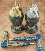 Montegrappa 1996 Luxor Le Gold Fp And Silver Fp Set With Inkwells - Matching 8