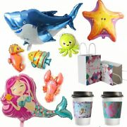 Kids Under The Sea Party Supplies Shark Mermaid Cake Toppers Birthday Decoration