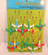 Vintage Airplane Puzzle Keychain Display With 12 Airplanes Over 2 Inches 12425
