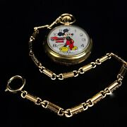 Vintage 1970s Bradley Mickey Mouse Pocket Watch - Gold Plated Limited Edition