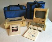 Apple Macintosh Classic 128k M0001 Computer With Printer And Carrying Cases