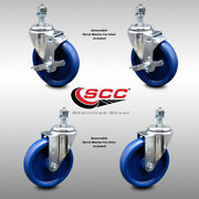 Ss Solid Poly Swivel Ts Caster Set Of 4 W/5 Wheels And 1/2 Stems - 2 W/brake