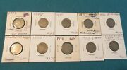 10 V-nickels 1883-95-88-93-96-97-98-99-03-08 Circulated One Price For All.