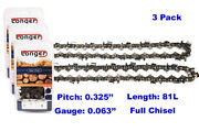 3 Pack20and039and039 Chainsaw Chain Full Chisel .325 Pitch .063 Gauge 81 Dl For Stihl