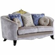 Acme Sheridan Loveseat With 5 Pillows In Cream Fabric