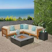 Krystin Outdoor 7 Piece V-shaped Acacia Wood Sectional Sofa Set With Fire Pit An
