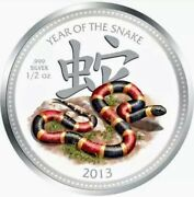 2013 Niue 2 Lunar Year Of The Snake - Coral Snake 1/2 Oz .999 Proof Silver Coin