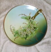Rare Vintage Lily Of The Valley Three Crown China Germany Nut Candy Dish W Gold