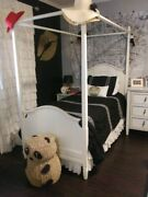 Pottery Barn Kids Madeline Poster Bed Twin With Mattress Set Antique White