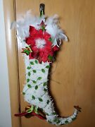 Krinkles White Poinsettia Stocking By Patience Brewster Dept 56 Xmas Retired