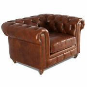 Marquesslife Antique Aged Leather Tufted 100 Genuine Couch Luxury Single Sofa