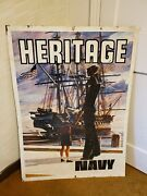 Original 1970s Navy Double Sided Metal Recruiting Sign