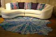 New Cowhide Rug Suede Leather Pillows Large White Grey Pink Purple Stripe Blue
