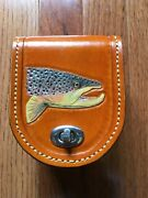Tooled Leather Fly Reel Case With Fleece Lining