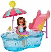 Little Barbie Doll Summer Fun Playset W/ Mini Pool And Slide For Girls Age 7+