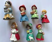 Mwc Collectible Vintage Caroler Bell Figurines 1980 Christmas Village Set Of 7