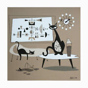 Free Ship Eames Atomic Cats Mid Century Modern Nelson Clock Painting Wall Art