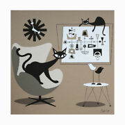 Free Ship Atomic Cats Eames Nelson Clock Mid Century Modern Painting Wall Art