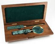 Vintage Green Marble Letter Opener And Magnifying Glass Set