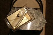 1950and039s Vintage Llewellyn Gray Pearlized Lucite Purse Handbag