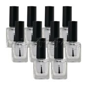 10pcs Transparent 15ml Empty Nail Polish Glass Bottle Sample Container And Brush