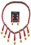 Aarikka Finland - Beautiful Set Of Red And Gold Color Wood Necklace And Earrings