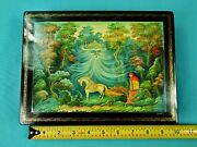 Russian Russia Mstera Handpainted Signed Large Frost Rednose Lacquer Trinket Box