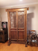 One-of-a Kind Antique Hand Carved Chinese Stand-alone Lattice Solid Wood Doorandnbsp