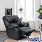 Recliner Sofa Leather Single Chair Home Theater Pad Seat Living Room Couch Black