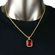 14k Gold Pt St Steel 20 3mm Rope Chain Hip Hop One Row Cz Red Ruby Pendant