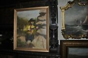 Large Antique Academic Cowboy Painting Classic American