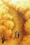 Yongsung Kim By Your Side Canvas Art Print Jesus Walking With Man Autumn Woods