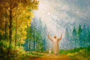 Yongsung Kim Oh My Father Canvas Jesus Lifts Hands To Heaven As He Walks W/lamb